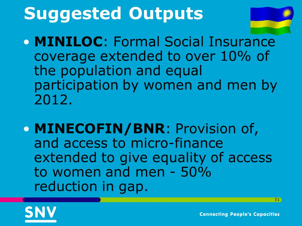 Suggested Outputs MINILOC: Formal Social Insurance coverage extended to over 10% of the population and equal participation by women and men by 2012.