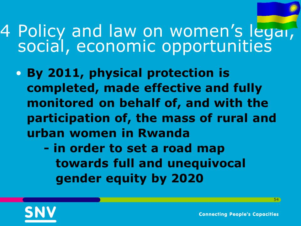 Policy and law on women's legal, social, economic opportunities