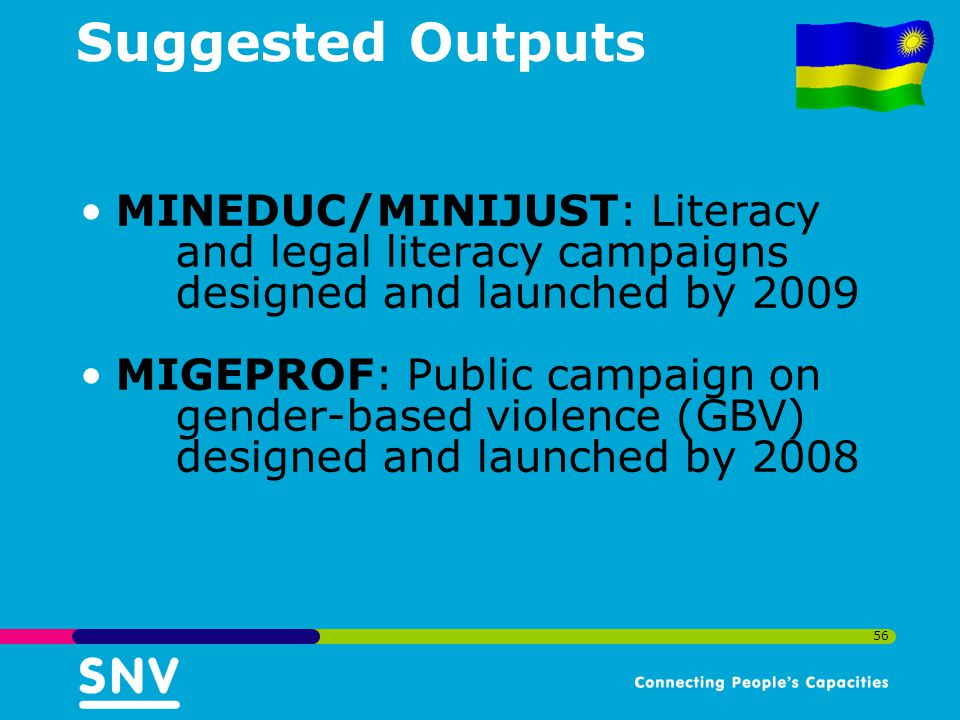 Suggested Outputs MINEDUC/MINIJUST: Literacy and legal literacy campaigns designed and launched by 2009.