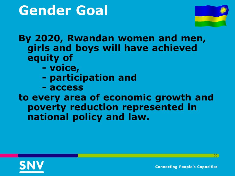 Gender Goal By 2020, Rwandan women and men, girls and boys will have achieved equity of. - voice, - participation and.