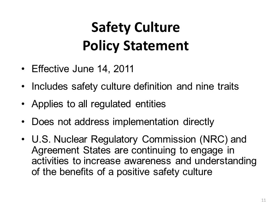 Safety Culture Policy Statement
