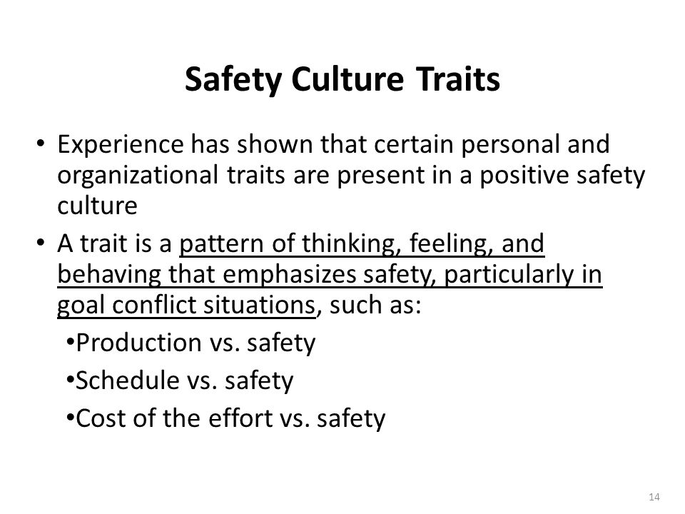 Safety Culture Traits Experience has shown that certain personal and organizational traits are present in a positive safety culture.