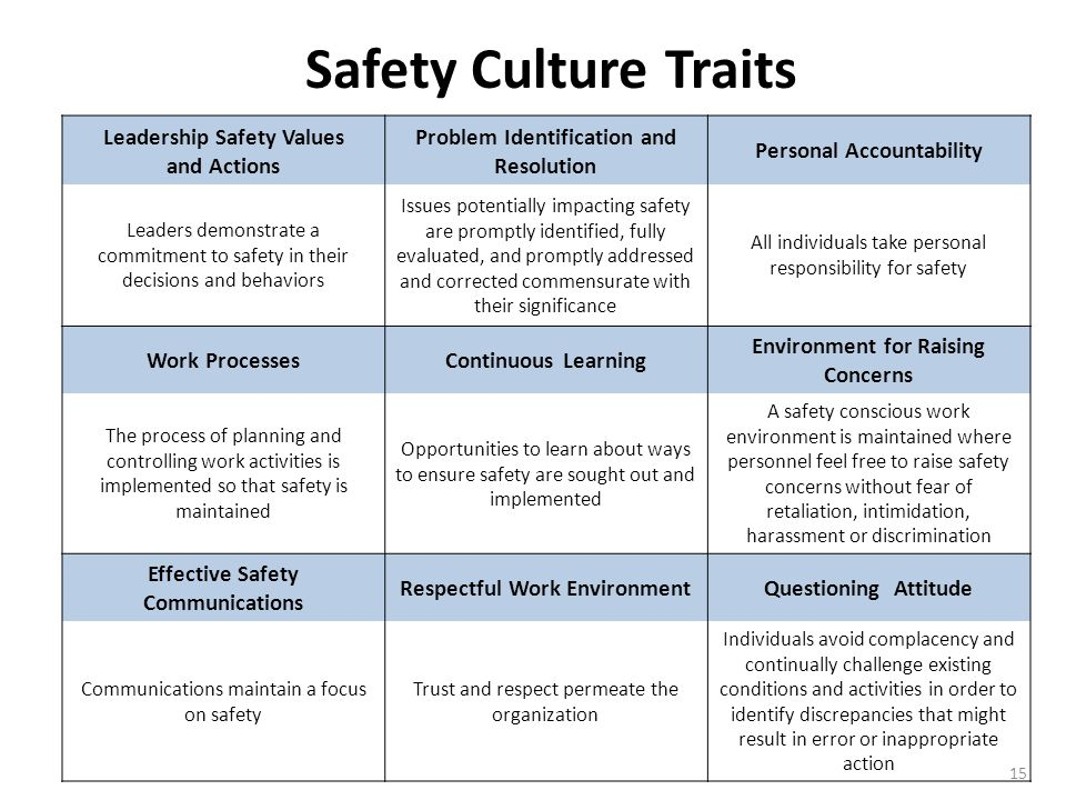 Safety Culture Traits Leadership Safety Values. and Actions. Problem Identification and Resolution.