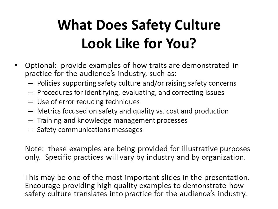 What Does Safety Culture Look Like for You
