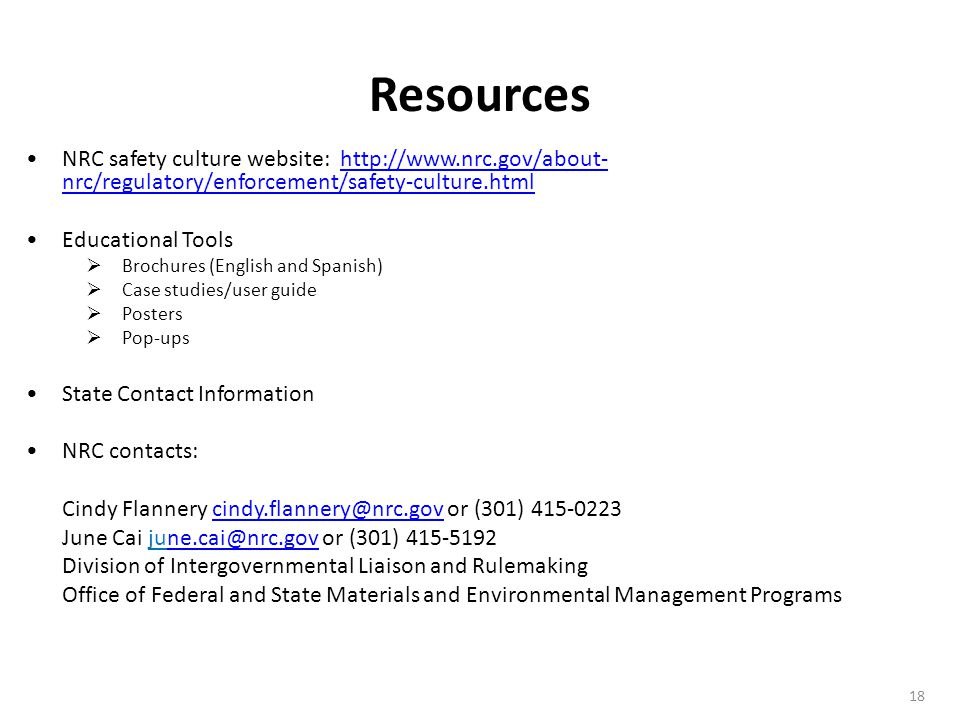 Resources NRC safety culture website: