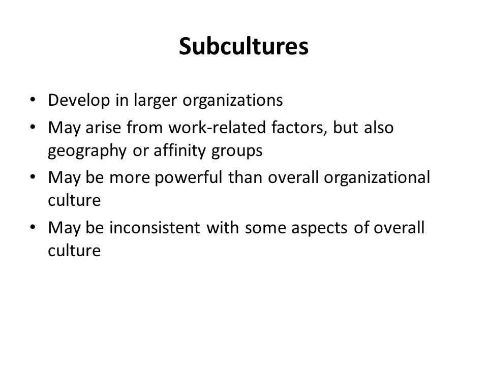 Subcultures Develop in larger organizations