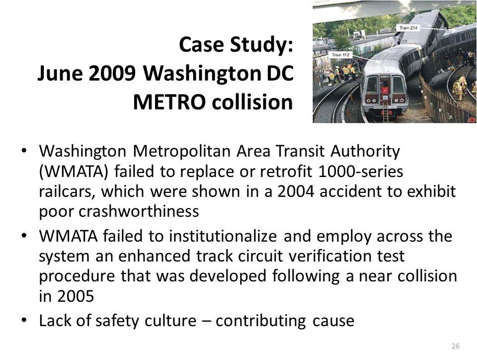 Case Study: June 2009 Washington DC METRO collision