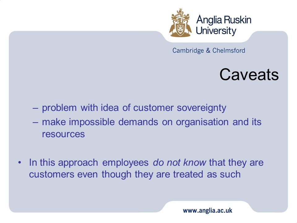 Caveats problem with idea of customer sovereignty