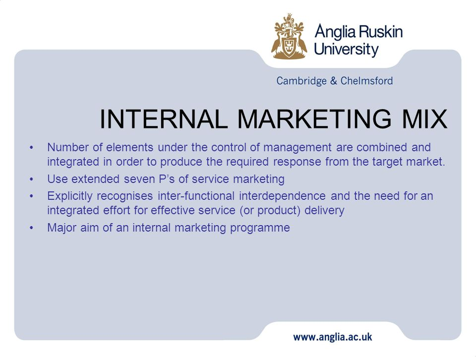 the aims of internal marketing essay The aim of internal marketing on a strategic level is the creation of an appropriate environment that will support employees'.