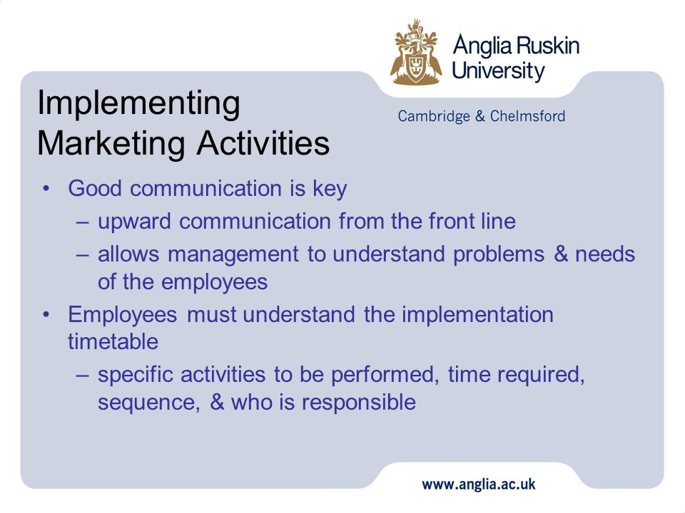 Implementing Marketing Activities