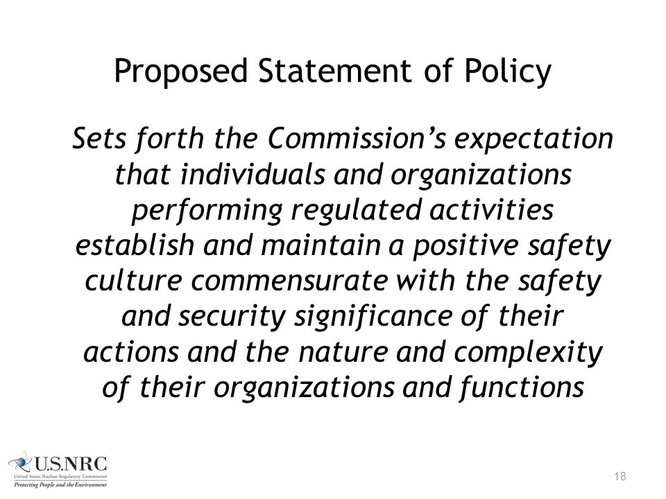 Proposed Statement of Policy