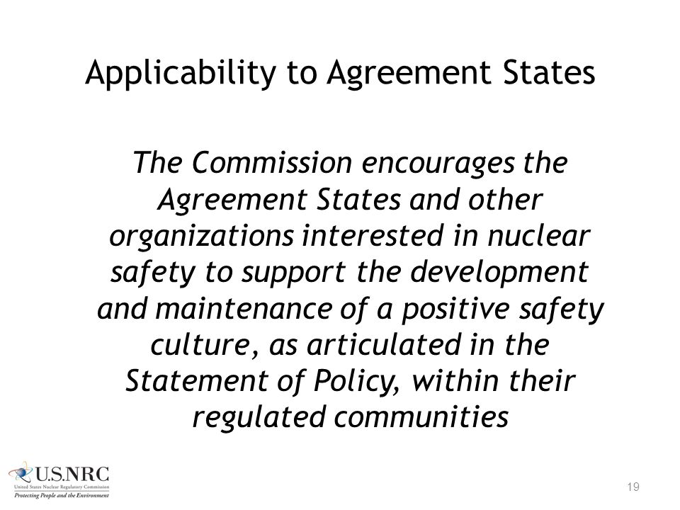 Applicability to Agreement States