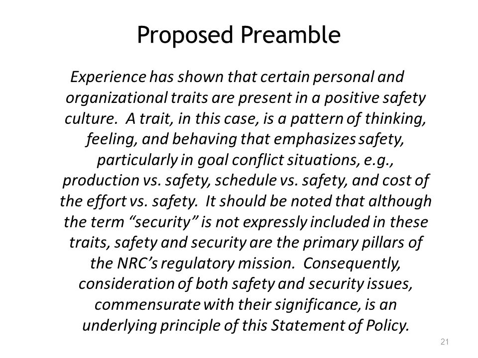 Proposed Preamble