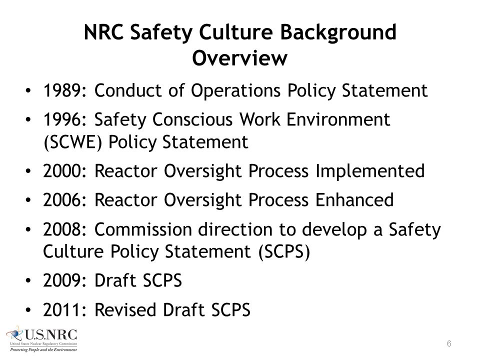 NRC Safety Culture Background Overview