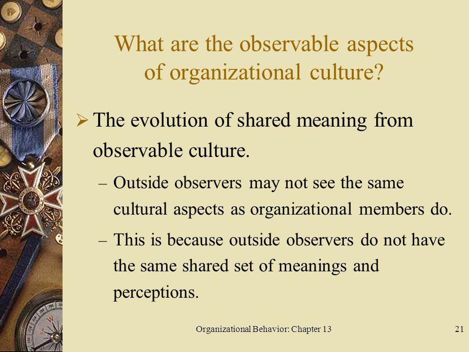 What are the observable aspects of organizational culture