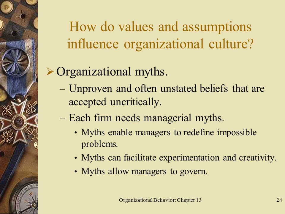 How do values and assumptions influence organizational culture