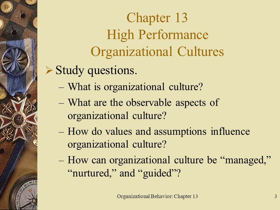 Chapter 13 High Performance Organizational Cultures