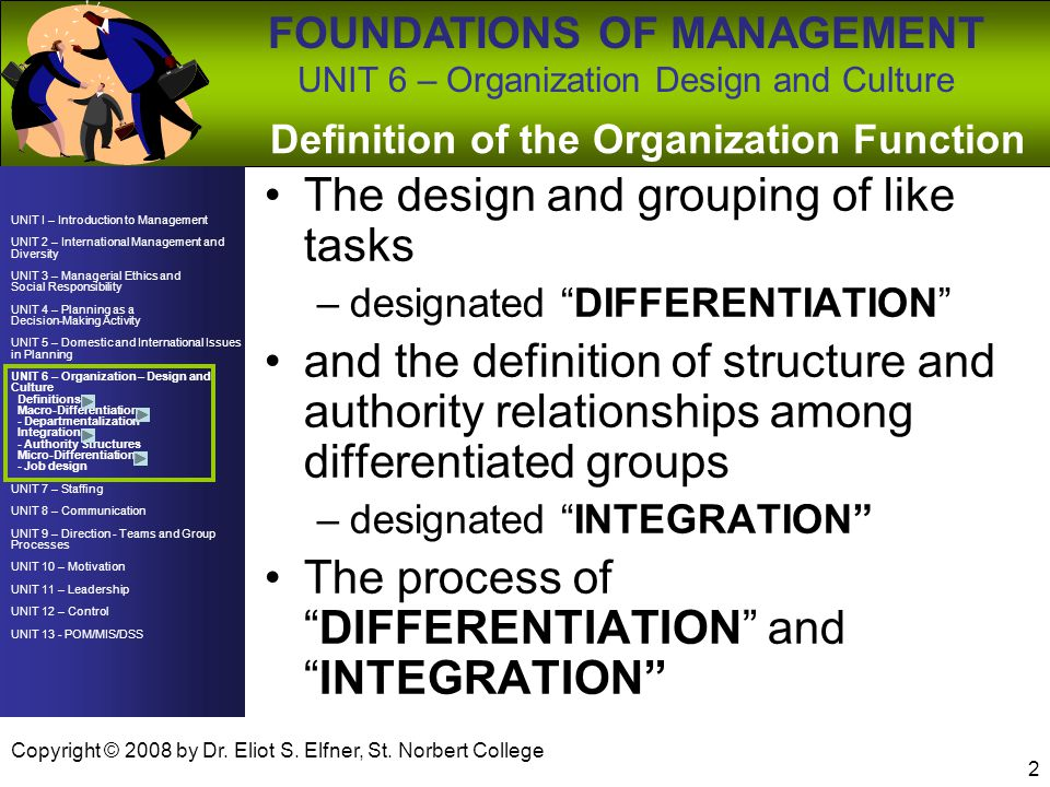 Definition of the Organization Function