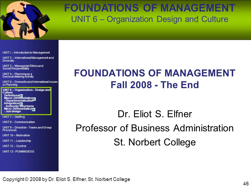 FOUNDATIONS OF MANAGEMENT Fall The End