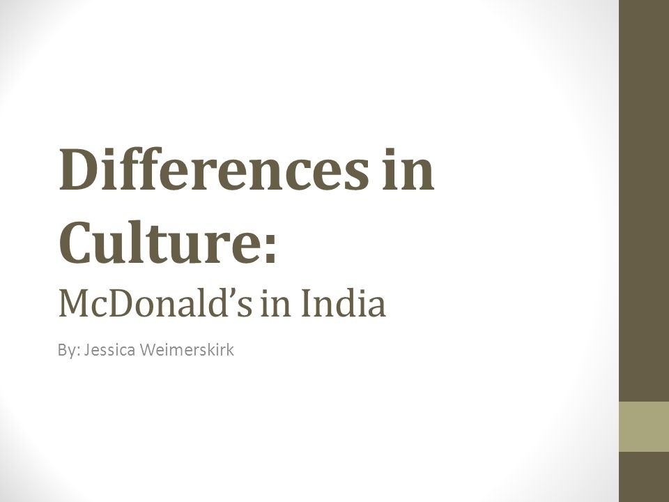 Differences in Culture: McDonald's in India