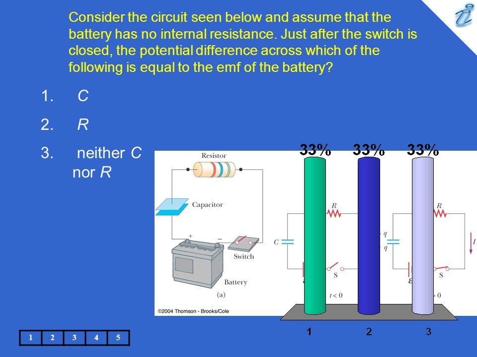 Consider the circuit seen below and assume that the battery has no internal resistance. Just after the switch is closed, the potential difference across which of the following is equal to the emf of the battery