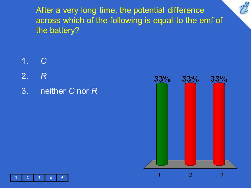 After a very long time, the potential difference across which of the following is equal to the emf of the battery