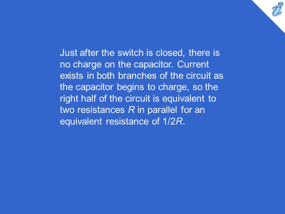 Just after the switch is closed, there is no charge on the capacitor
