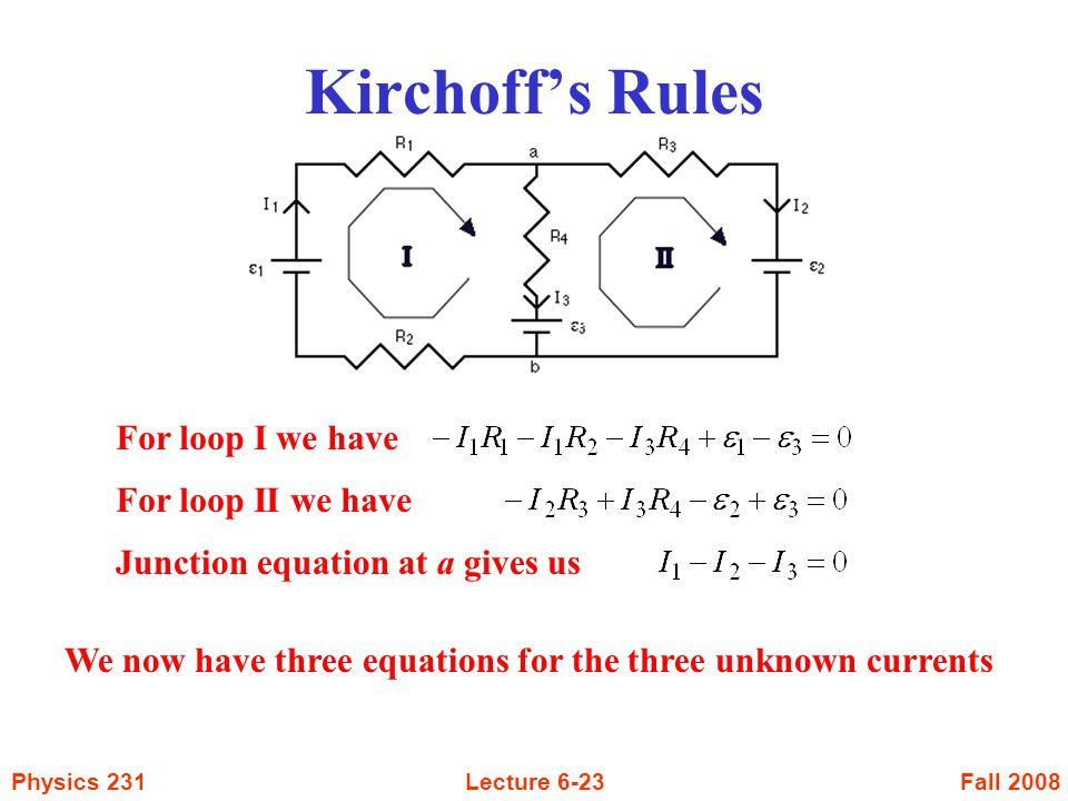 Kirchoff's Rules For loop I we have For loop II we have