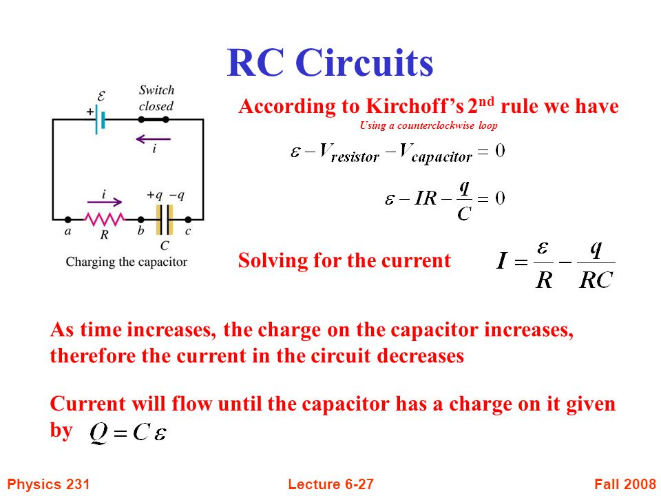 According to Kirchoff's 2nd rule we have Using a counterclockwise loop