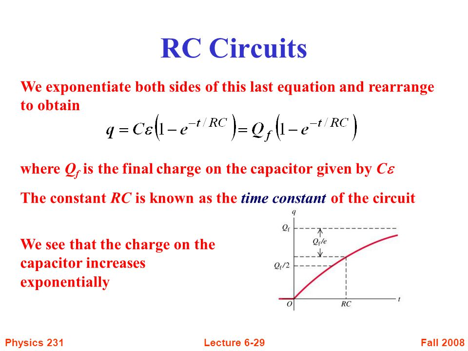 RC Circuits We exponentiate both sides of this last equation and rearrange to obtain. where Qf is the final charge on the capacitor given by Ce.