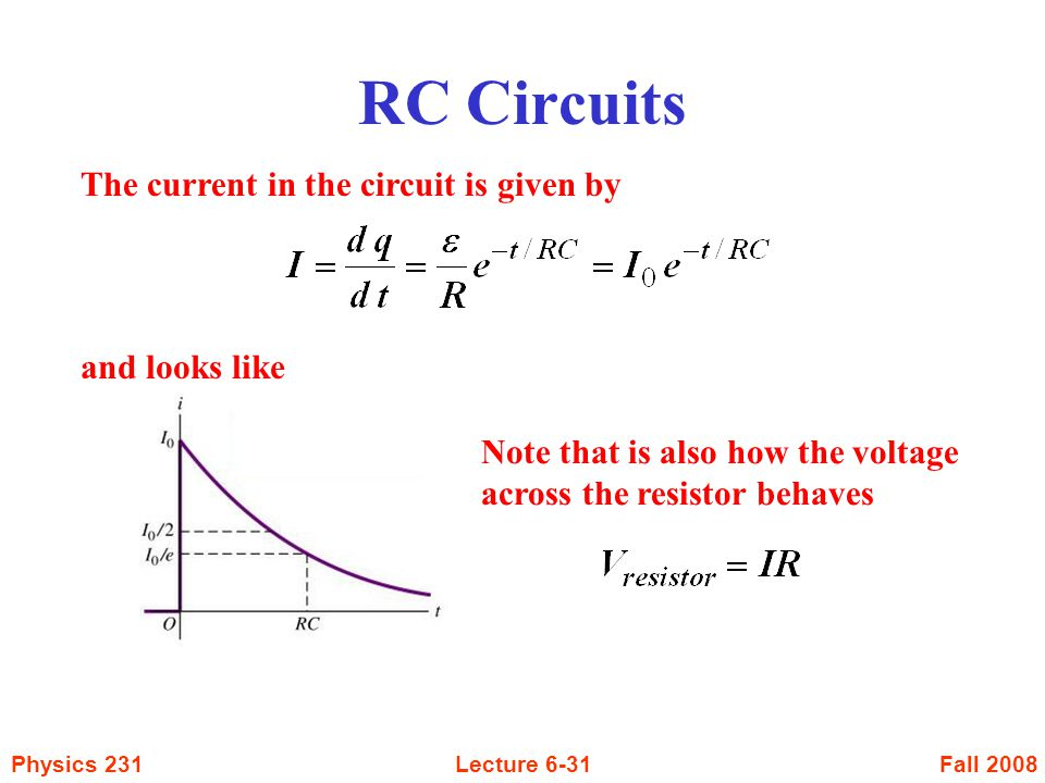 RC Circuits The current in the circuit is given by and looks like