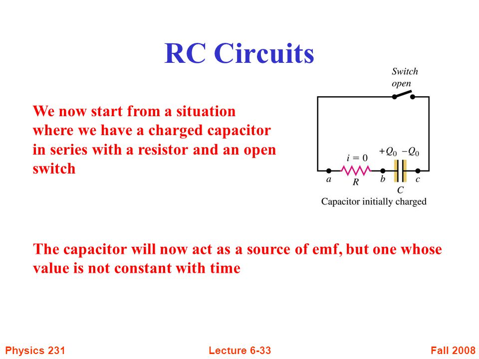 RC Circuits We now start from a situation where we have a charged capacitor in series with a resistor and an open switch.