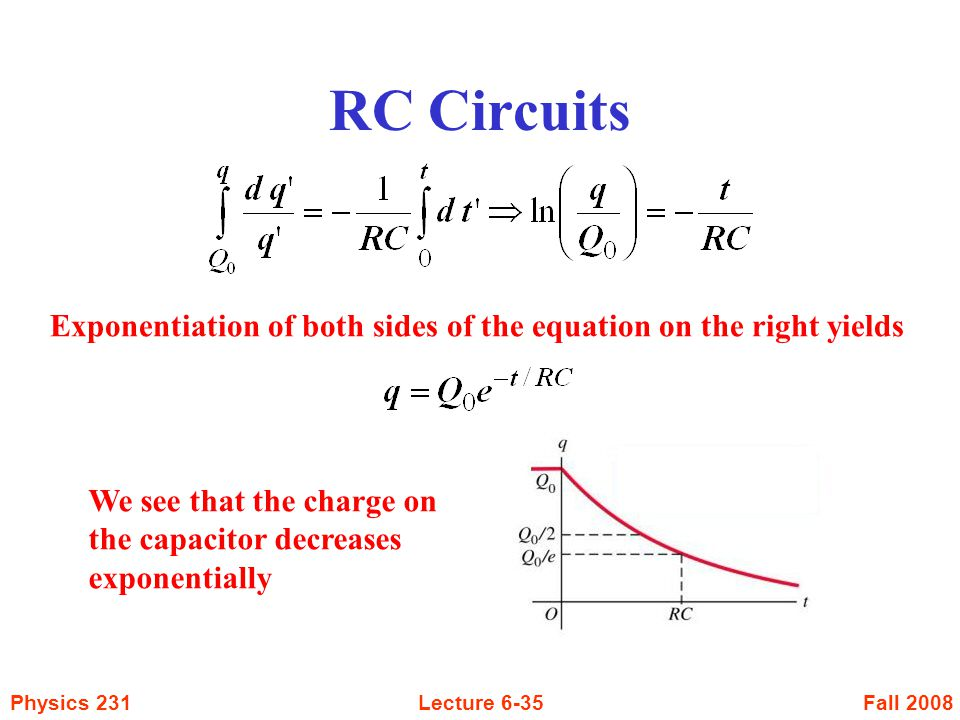 RC Circuits Exponentiation of both sides of the equation on the right yields.