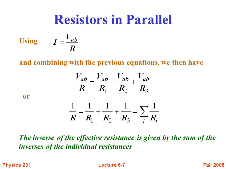Resistors in Parallel Using