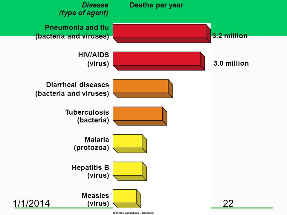 3/25/2017 Disease (type of agent) Deaths per year Pneumonia and flu