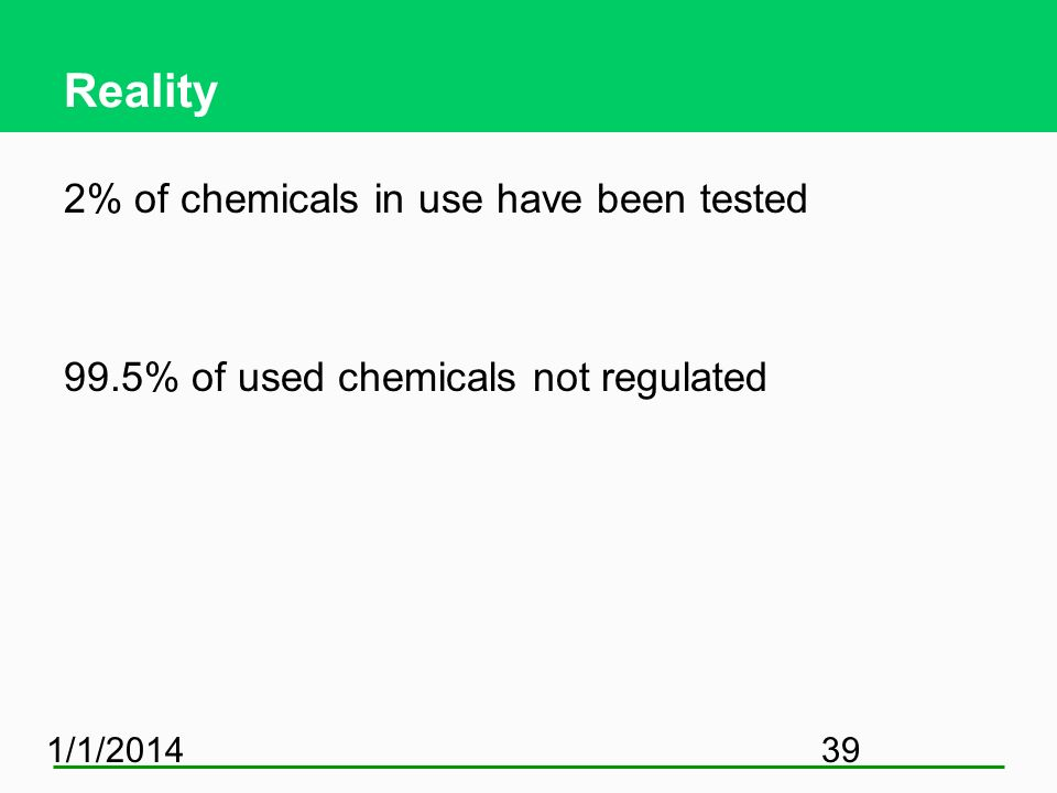 Reality 2% of chemicals in use have been tested