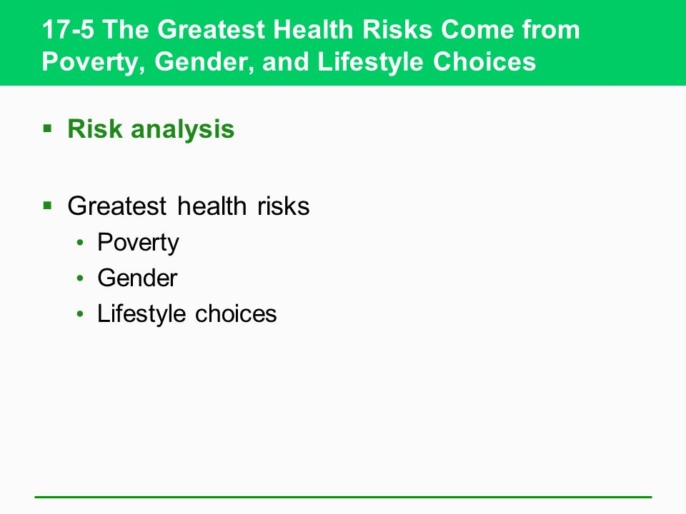 17-5 The Greatest Health Risks Come from Poverty, Gender, and Lifestyle Choices