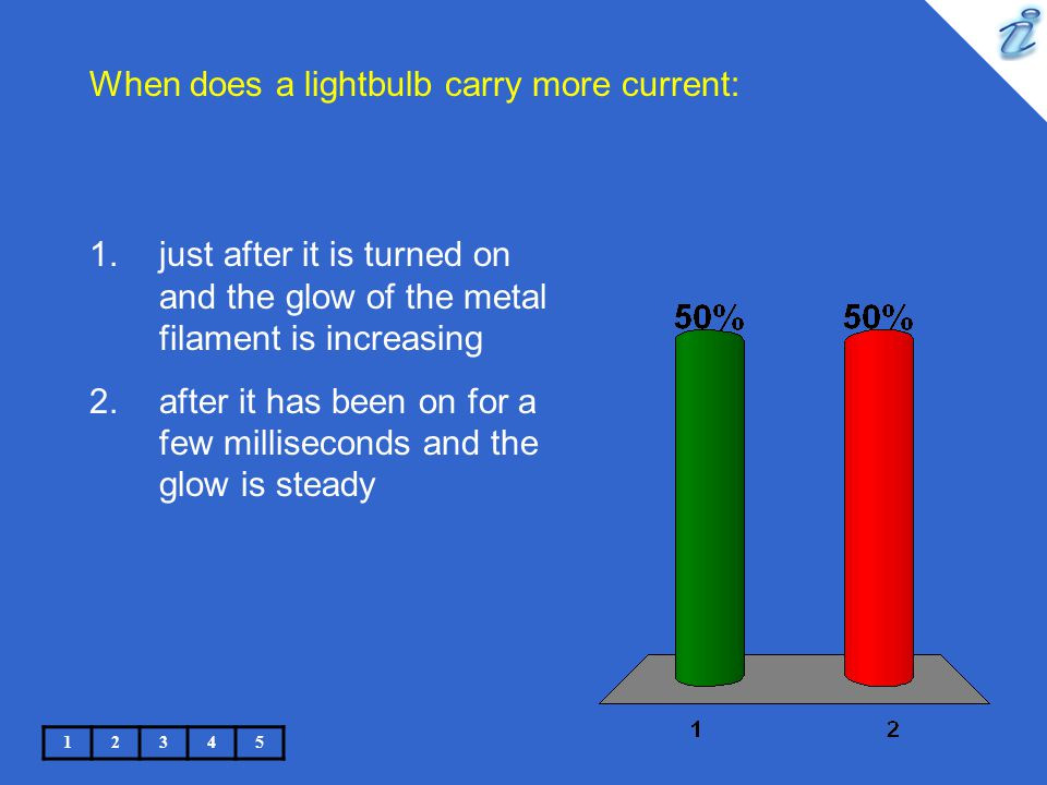 When does a lightbulb carry more current: