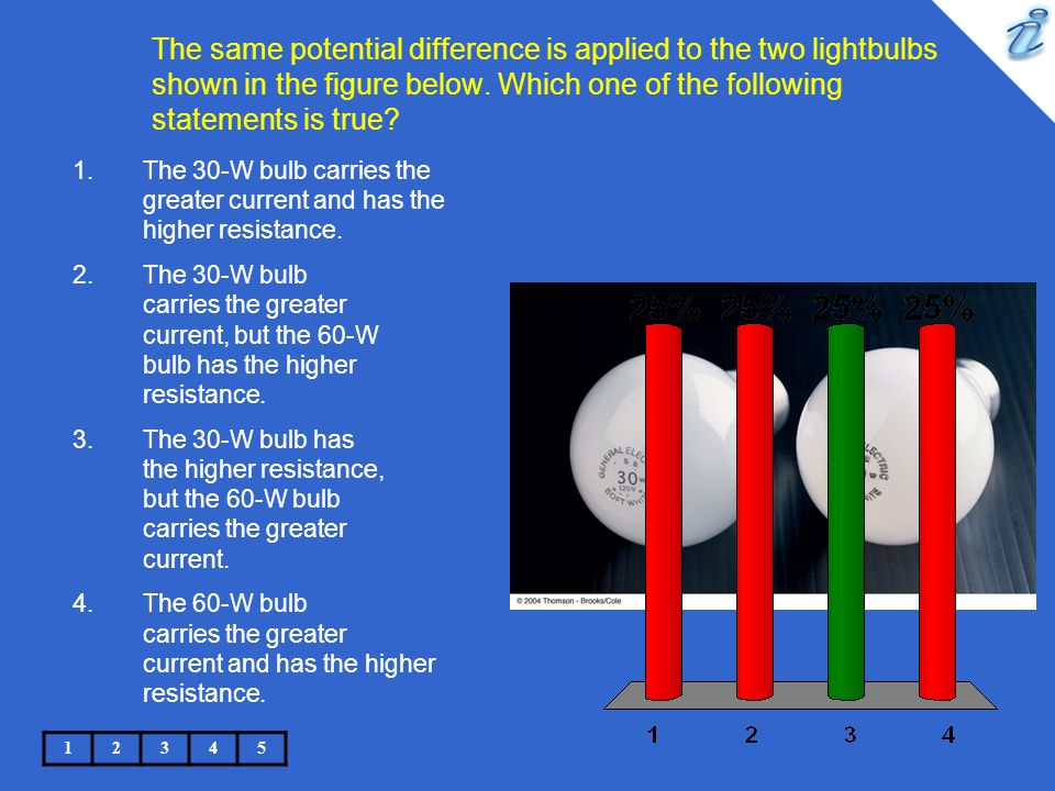 The same potential difference is applied to the two lightbulbs shown in the figure below. Which one of the following statements is true