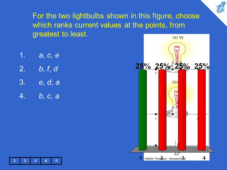 For the two lightbulbs shown in this figure, choose which ranks current values at the points, from greatest to least.