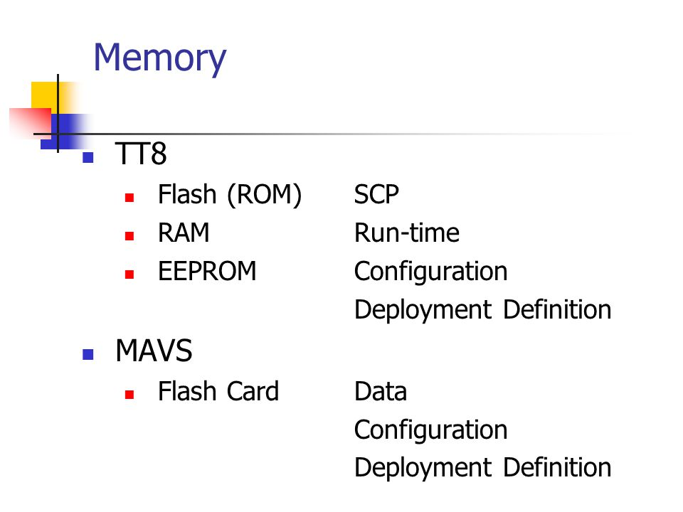 Memory TT8 MAVS Flash (ROM) SCP RAM Run-time EEPROM Configuration