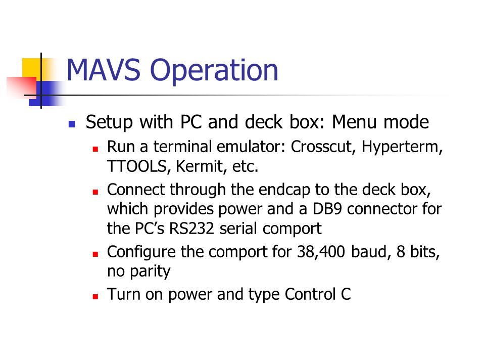 MAVS Operation Setup with PC and deck box: Menu mode