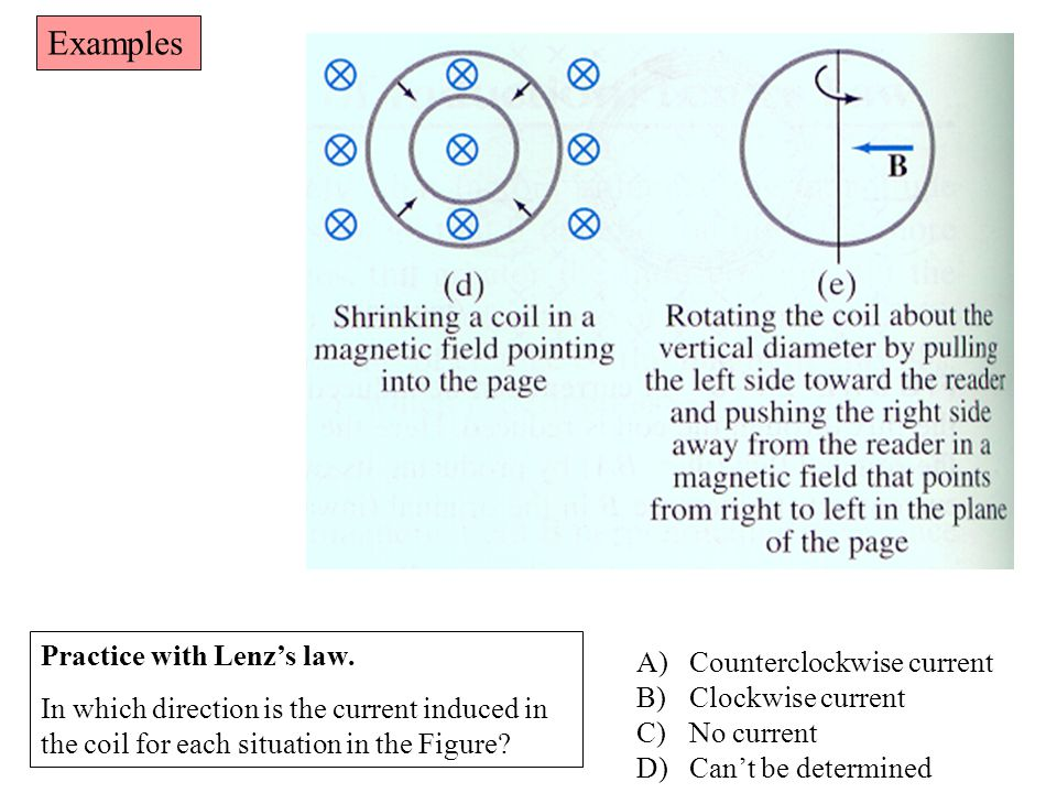 Examples Practice with Lenz's law. Counterclockwise current