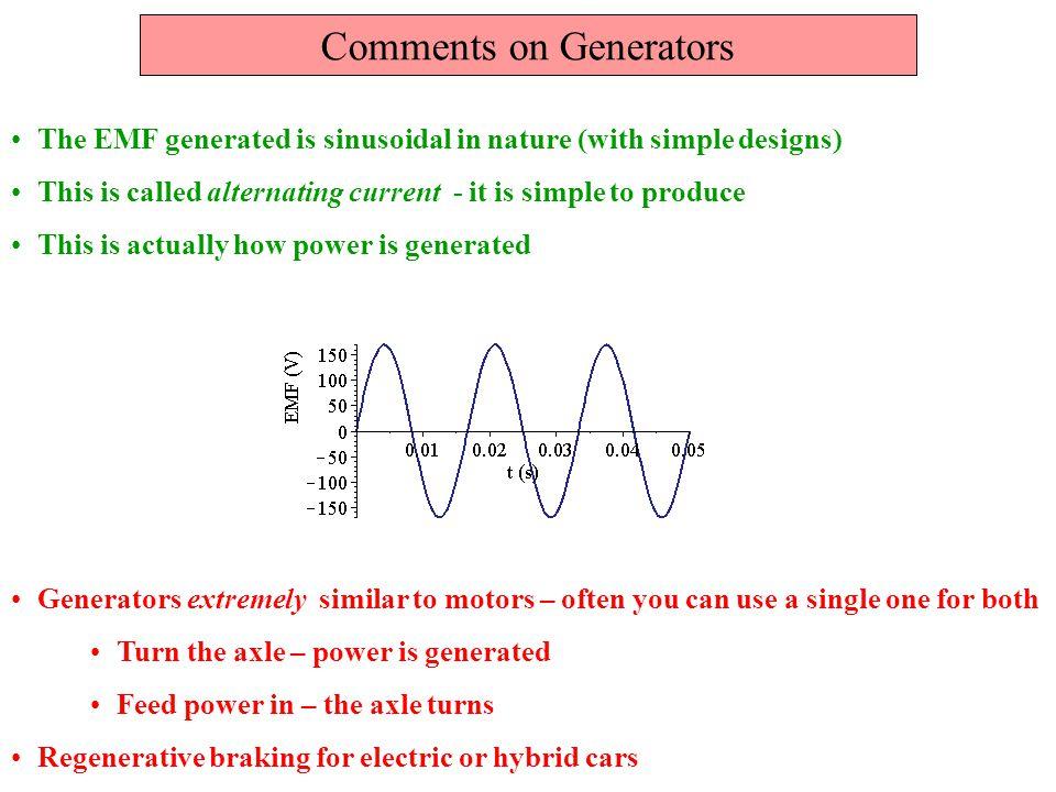 Comments on Generators