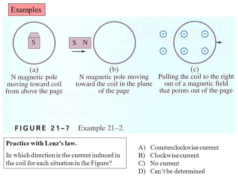 Examples Practice with Lenz's law.