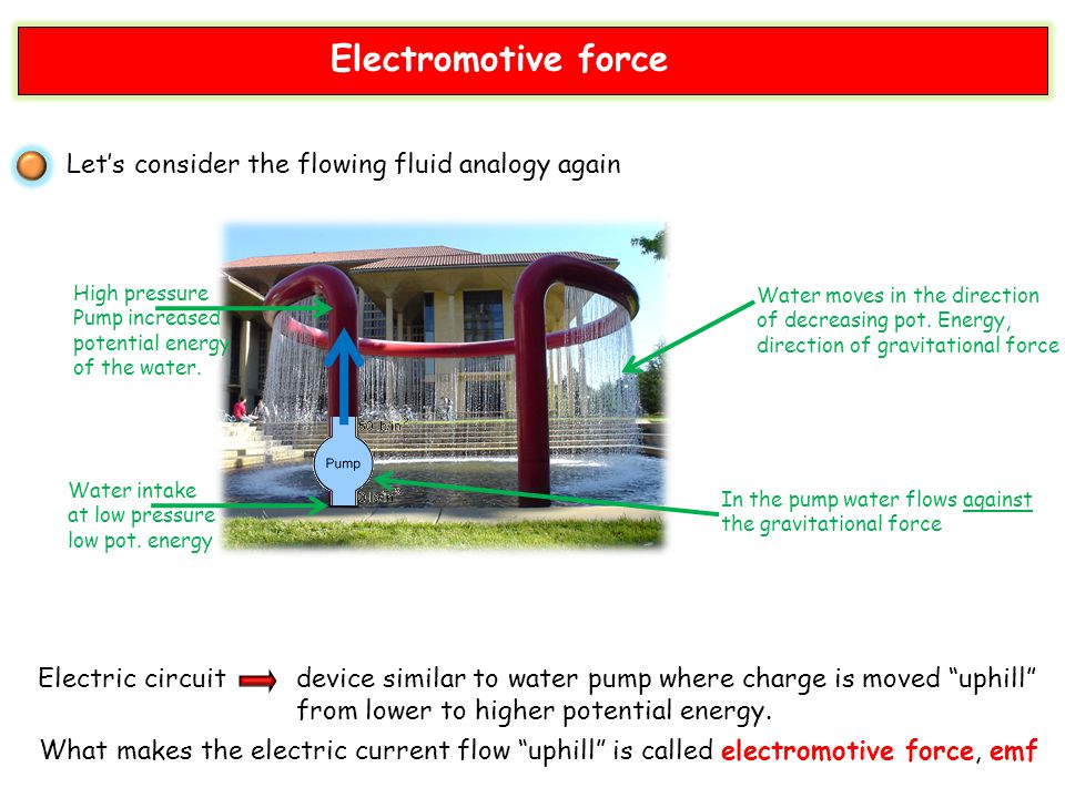 Electromotive force Let's consider the flowing fluid analogy again