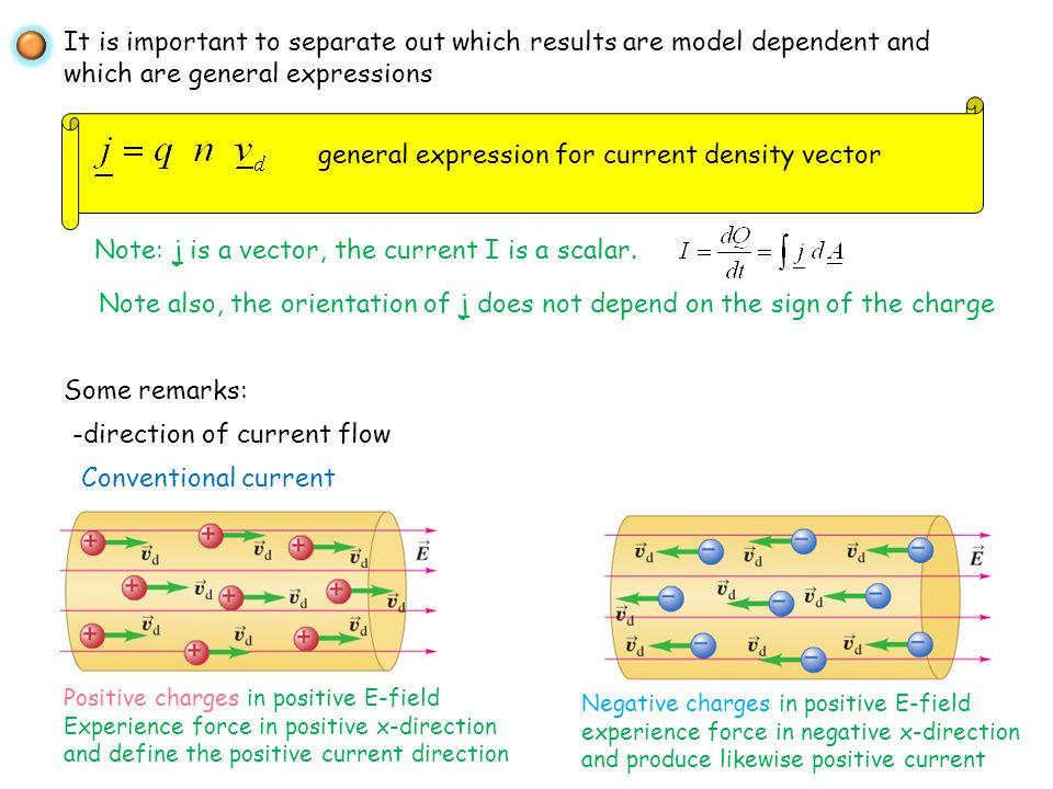 general expression for current density vector