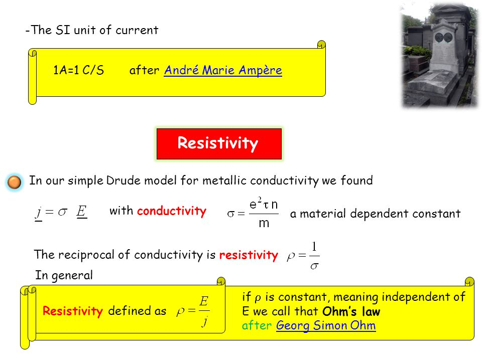 Resistivity -The SI unit of current 1A=1 C/S after André Marie Ampère
