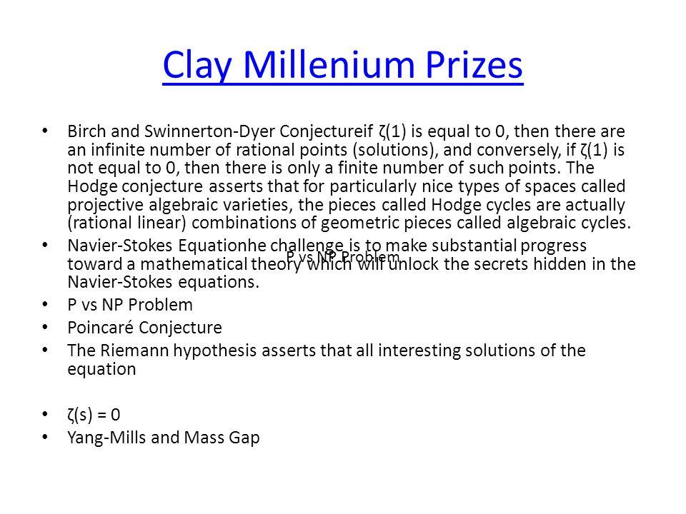 Clay Millenium Prizes