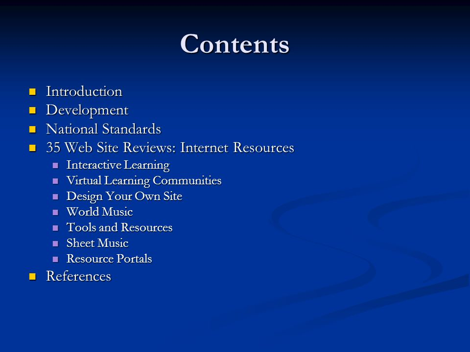 Contents Introduction Development National Standards